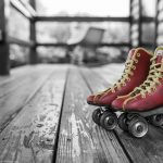 Image of red and yellow laced roller skates