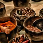 Image of wooden bowls with different spices
