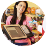 customers in store purchasing from till using epos software