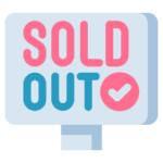 stock control software. sold out sign icon.