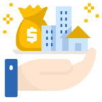 Asset mangement. Hand holding money and building symbols.
