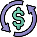 Icon of a green dollar symbol with purple arrows circling it. Used in a Bit Systems manufacturing software solution blog.