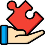Icon of a hand holding a red puzzle piece. Used in a Bit Systems manufacturing software solution blog.