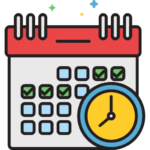 Icon of a calendar with days ticked off and a yellow and blue clock representing a deadline.