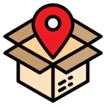 Icon of a brown delivery box with a red location pin above to represent delivery tracking. Used in a Bit Systems manufacturing software solution blog.