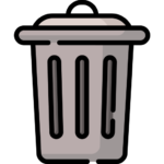 Icon of a grey waste trash can.