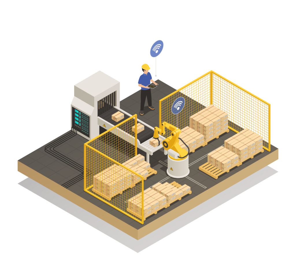 Smart industry intelligent manufacturing isometric composition with robotic arm and automated conveyor delivery warehouse production vector illustration