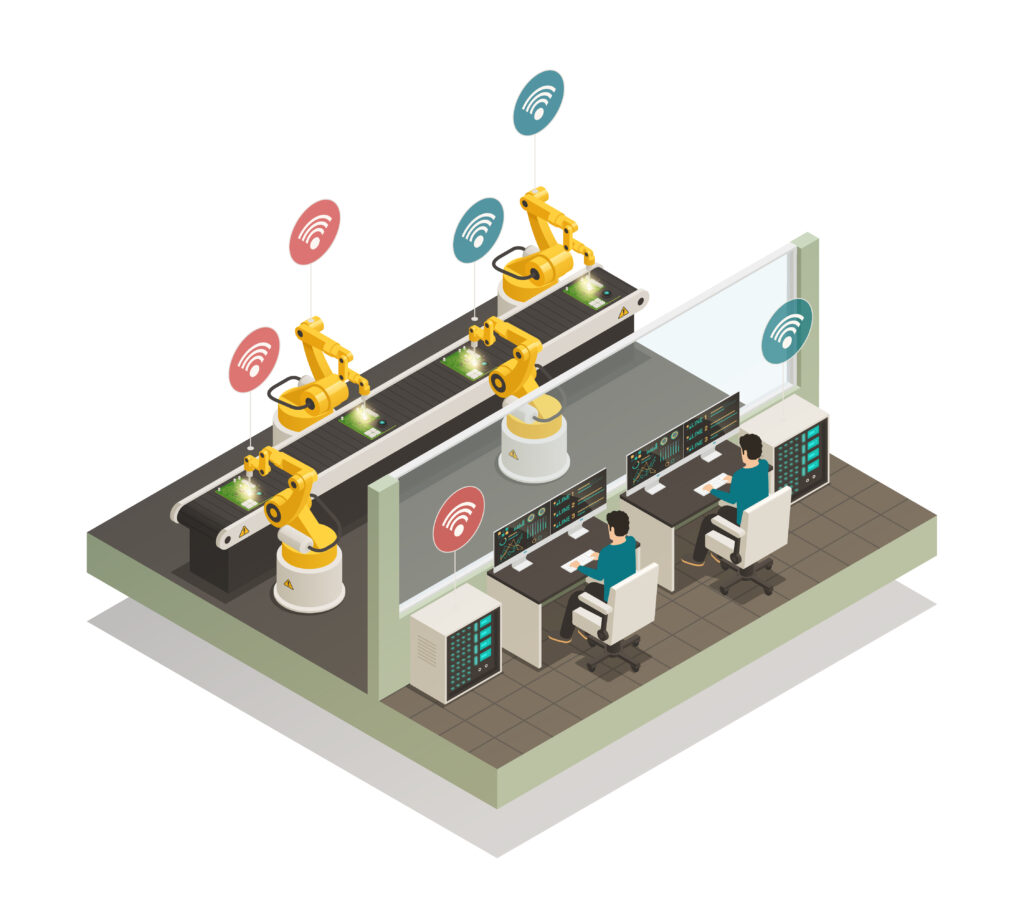 Smart industry intelligent manufacturing fully automated welding line with remote controlled robotic hand isometric composition vector illustration