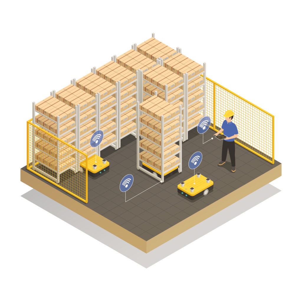 Smart industry machine intelligence in manufacturing storage unit isometric composition with computer controlled robotic trolley vector illustration