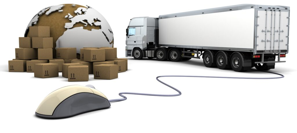 3d render of online freight order tracking