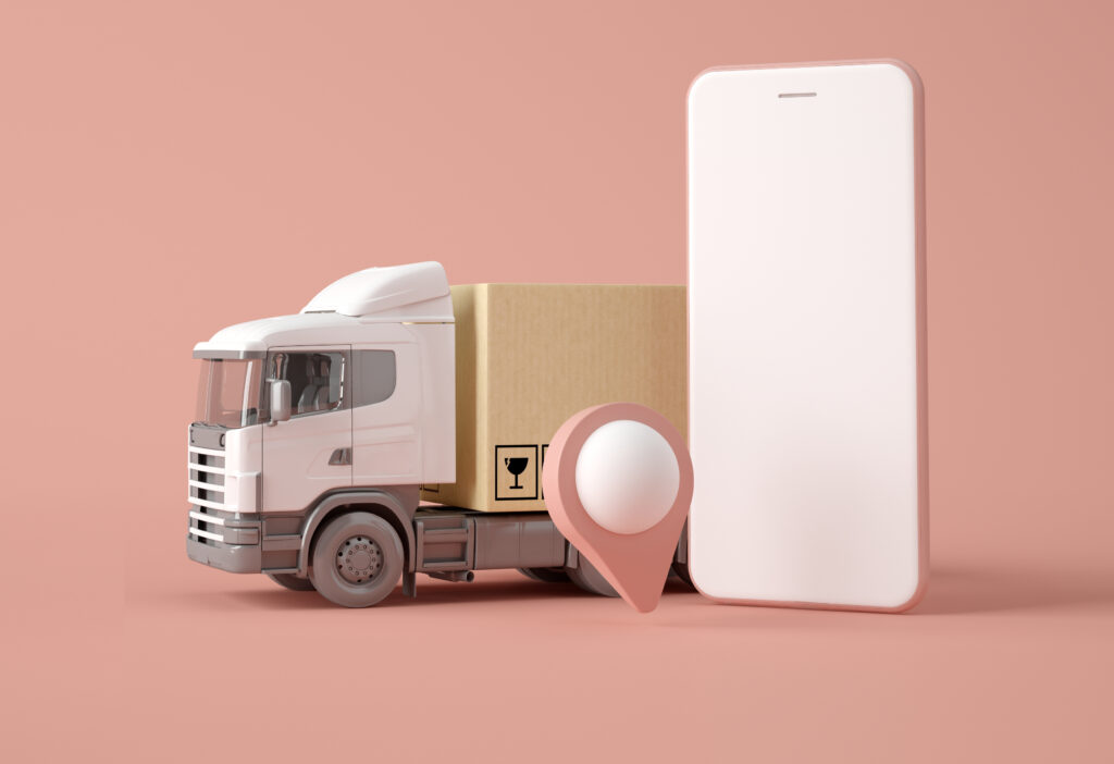 3D Illustration. Delivery truck with boxes.